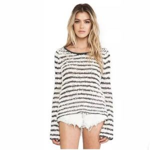 Free People Shaggy Striped Grey/White Sweater